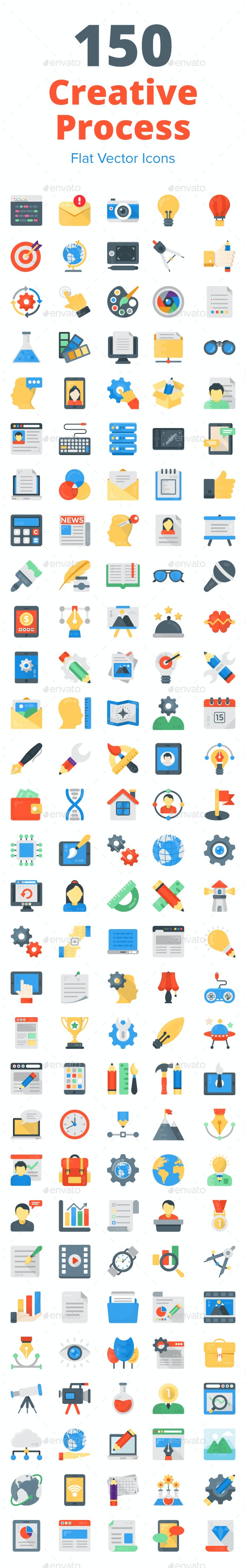 150 Creative Process Flat Icons - Icons