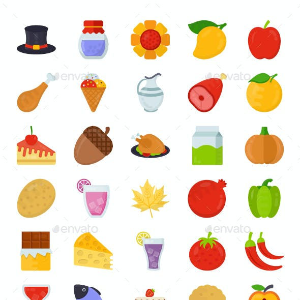 150 Flat Food and Gifts Vector Icons