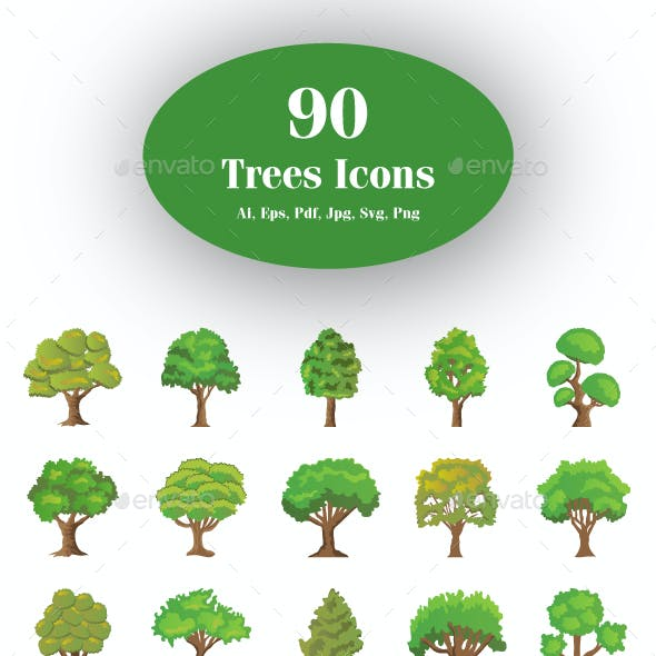 90 Flat Trees Vector Icons
