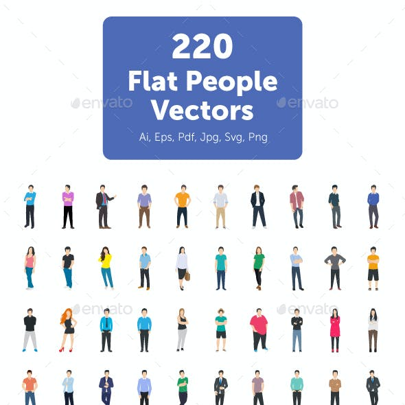 220 Flat People Vector Icons
