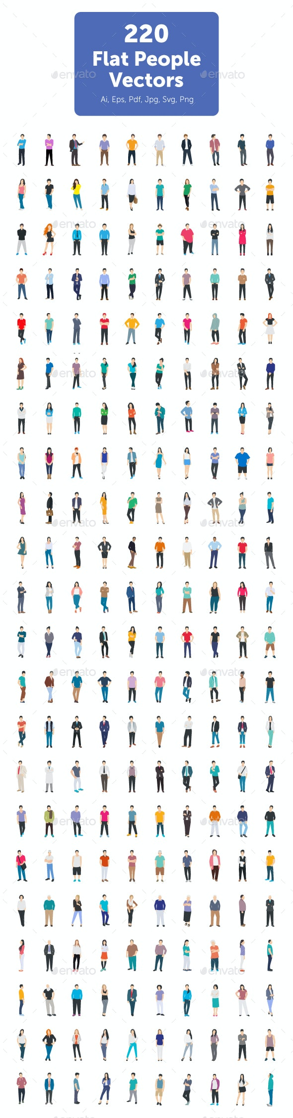 220 Flat People Vector Icons - Icons