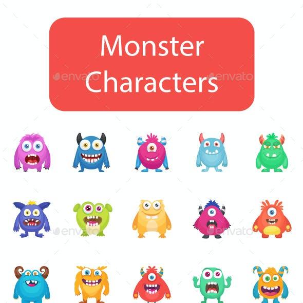 80 Flat Monster Characters Vectors
