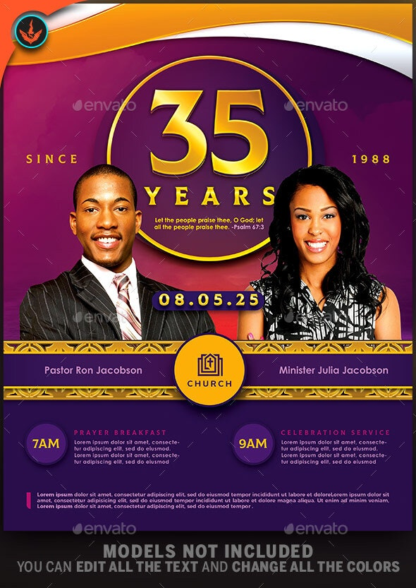 Royal Gold Lavender and White Anniversary Church Flyer - Church Flyers
