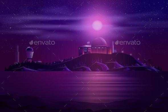 Astronomical Observatory Telescopes Cartoon Vector - Miscellaneous Vectors