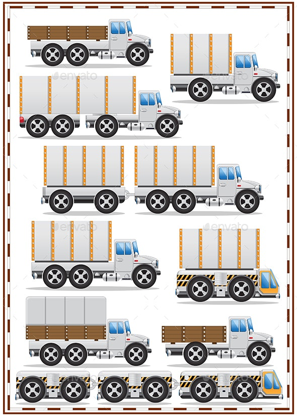Set of Trucks - Man-made Objects Objects