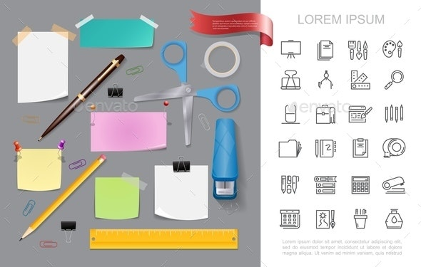 Realistic Stationery Colorful Concept - Miscellaneous Vectors