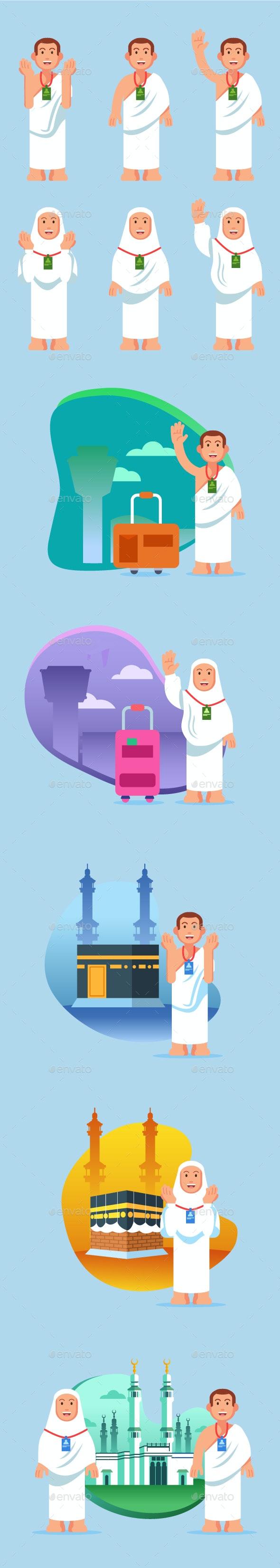 Hajj Pilgrimage Flat Style Character - Religion Conceptual