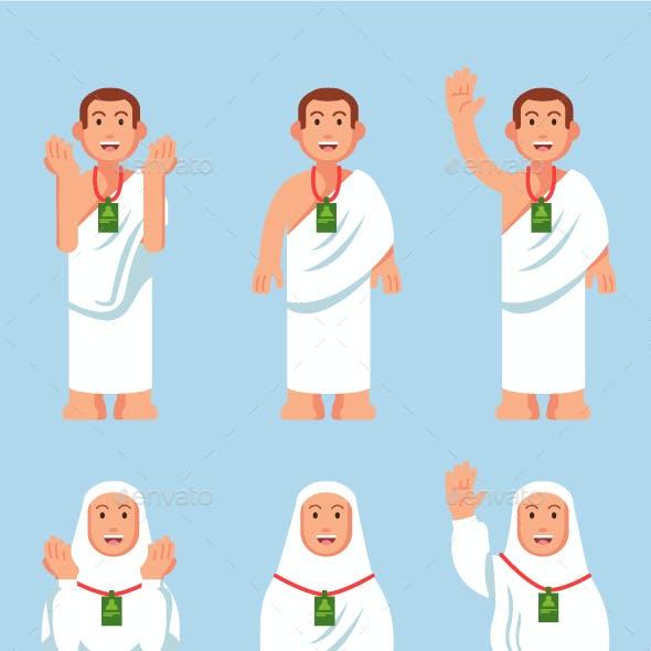 Hajj Pilgrimage Flat Style Character