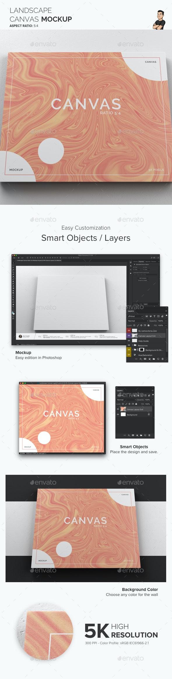 Landscape Canvas Ratio 5x4 Mockup 03 - Print Product Mock-Ups