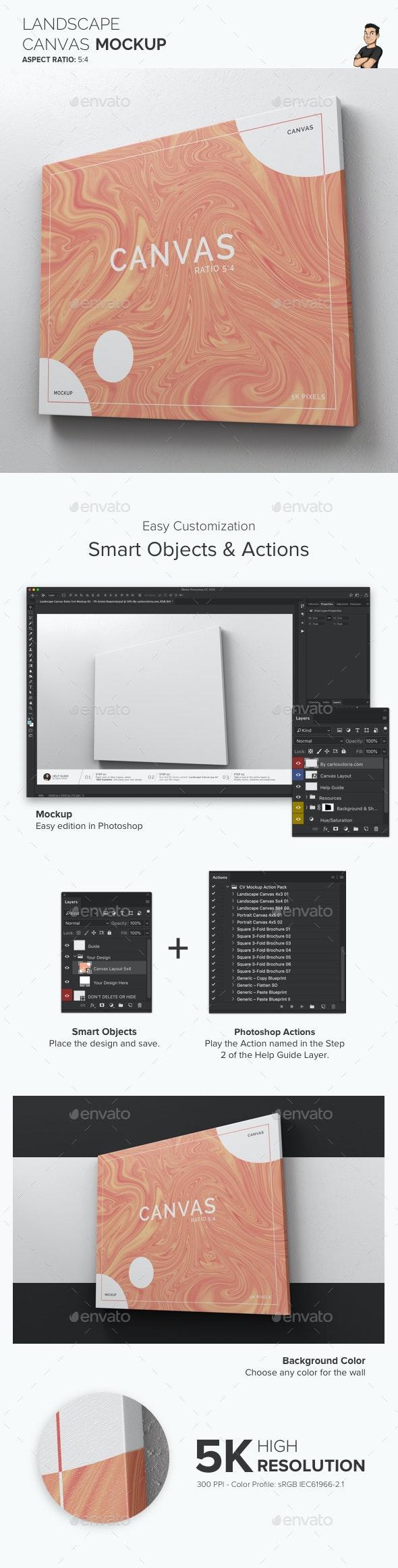 Landscape Canvas Ratio 5x4 Mockup 02 - Print Product Mock-Ups
