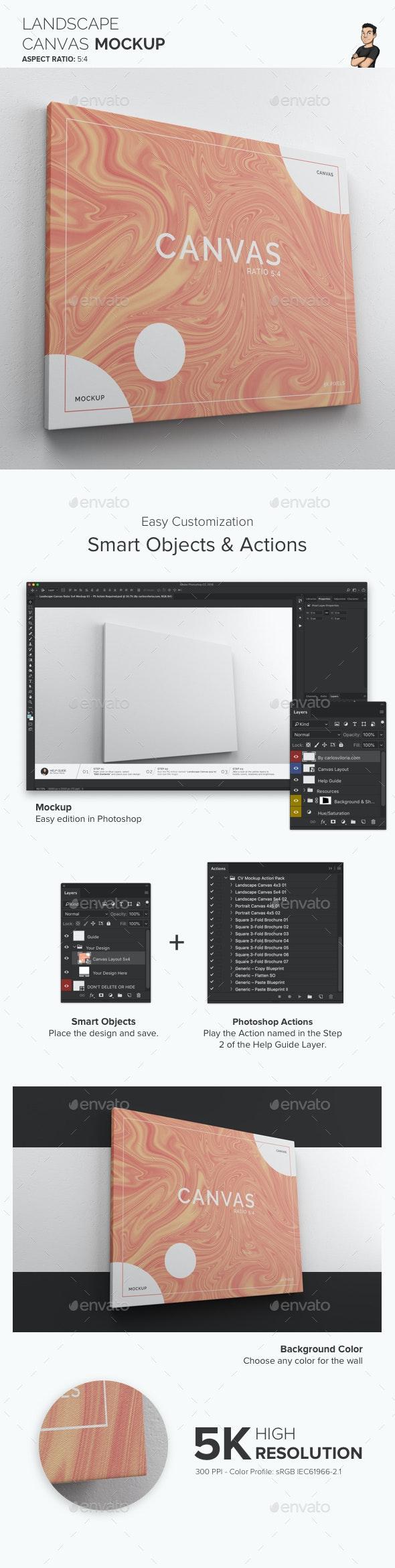 Landscape Canvas Ratio 5x4 Mockup 01 - Print Product Mock-Ups