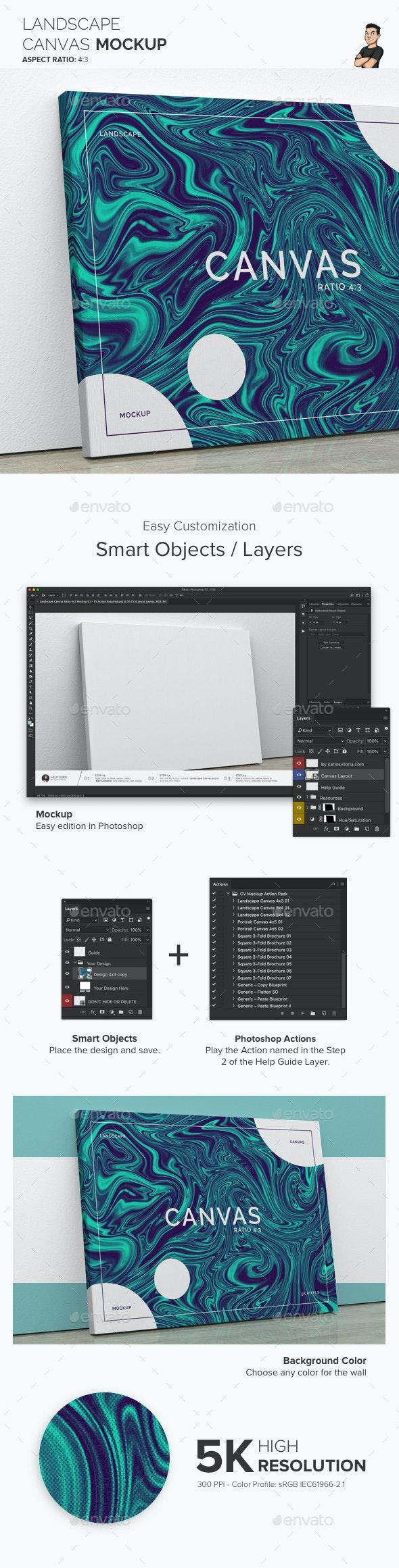 Landscape Canvas Ratio 4x3 Mockup 01 - Print Product Mock-Ups