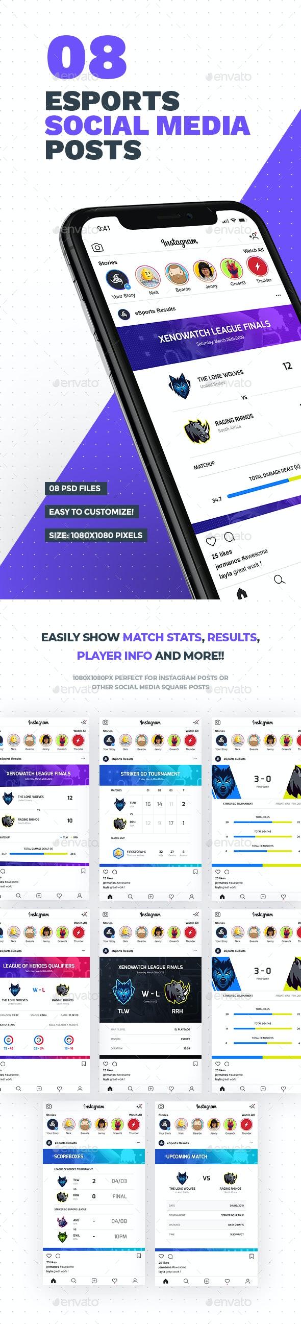 8 eSports Posts for Social Media - Social Media Web Elements