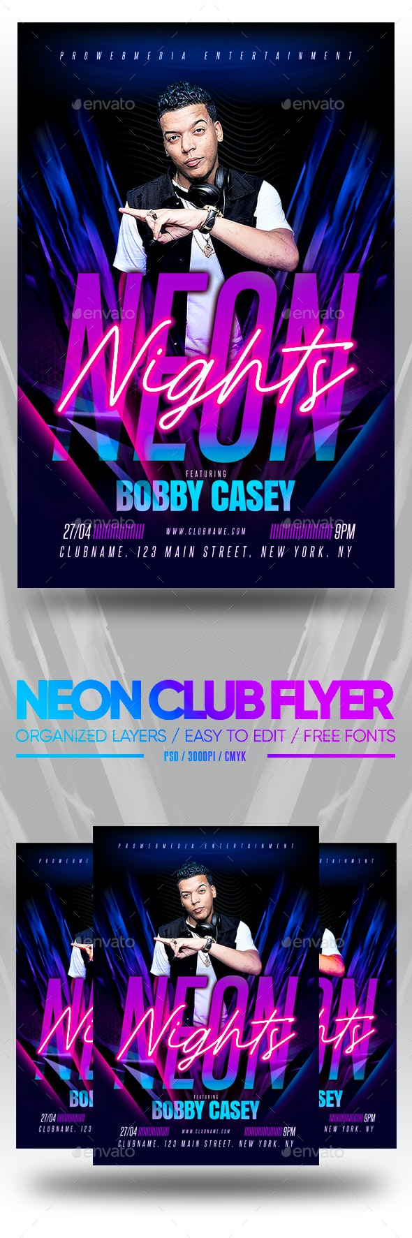 Neon Club Flyer - Clubs & Parties Events