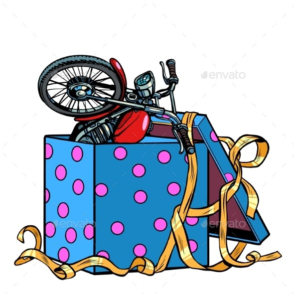 Motorcycle Bike in a Gift Box - Man-made Objects Objects