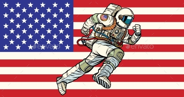 eff698603 American Astronaut Patriot Runs Forward. USA Flag - People Characters