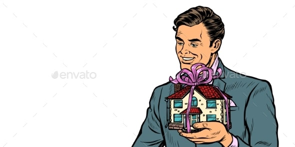 Businessman Selling Real Estate, House As a Gift - Business Conceptual