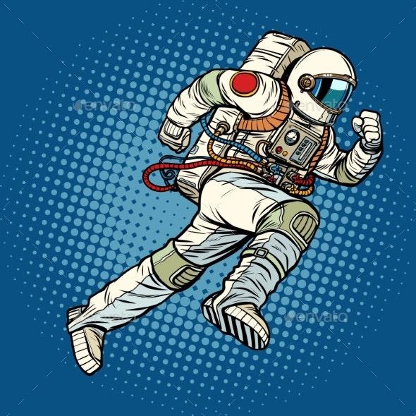 Astronaut Runs Forward - Technology Conceptual