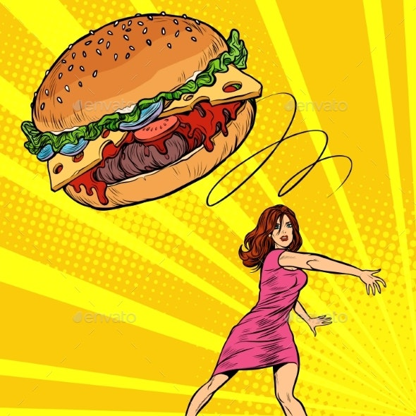 Woman Throws Burger, Fast Food. Diet and Healthy - Food Objects