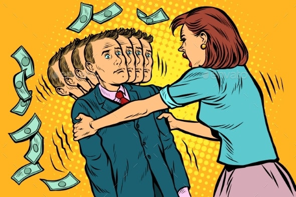 Money Demand. The Wife Shakes Her Husband. Women - People Characters