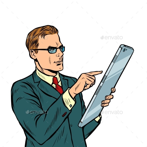 Businessman and Smartphone with Big Screen Isolate - Technology Conceptual
