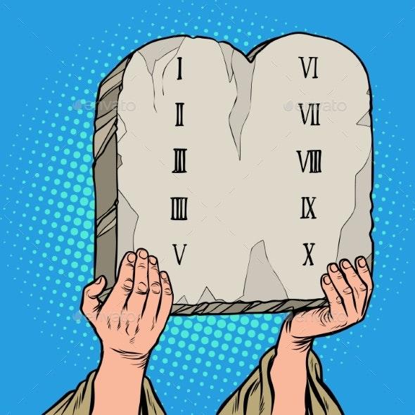 Tables of the Covenant. Ten Commandments of Moses - Religion Conceptual