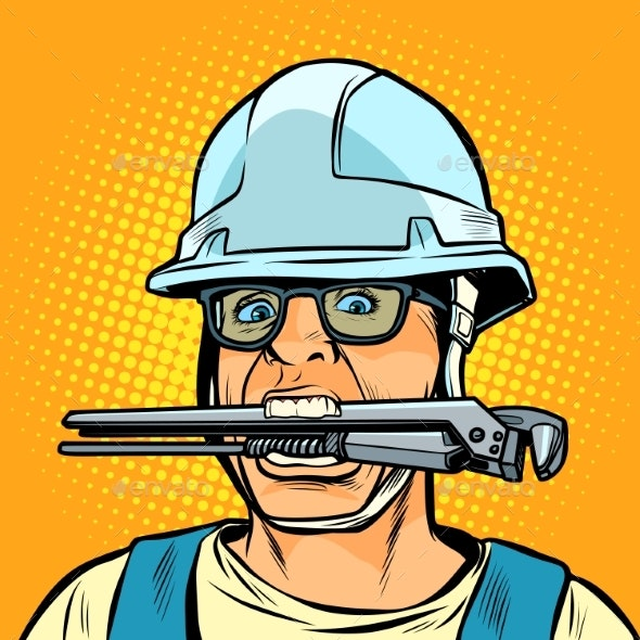 Funny Working Professional Plumber with a Wrench - Industries Business