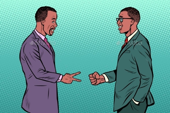 African Businessmen Game Rock Paper Scissors - Business Conceptual