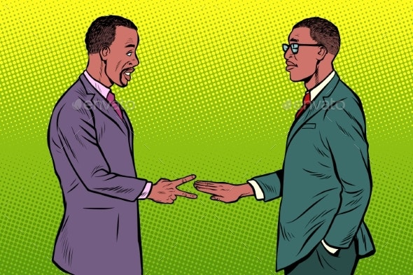 African Businessmen Game Rock Paper Scissors - Business Conceptual