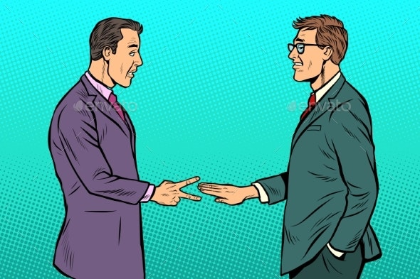Businessmen Game Rock Paper Scissors - Business Conceptual