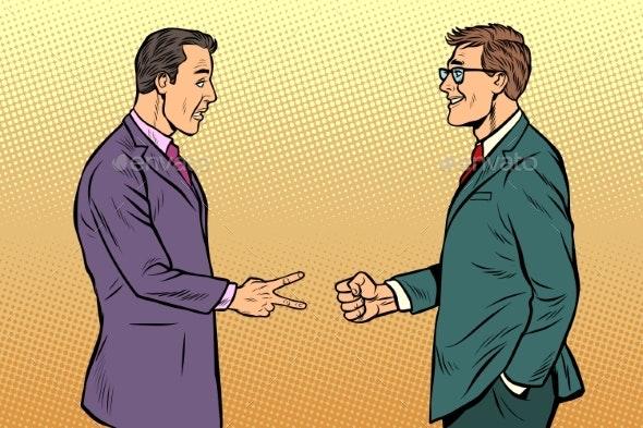 Businessmen Game Rock Paper Scissors - Business Conceptual