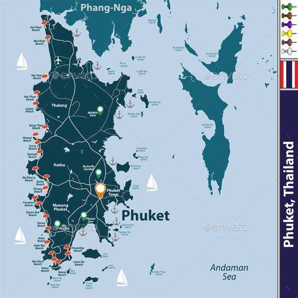 Map of Phuket Province, Thailand - Travel Conceptual