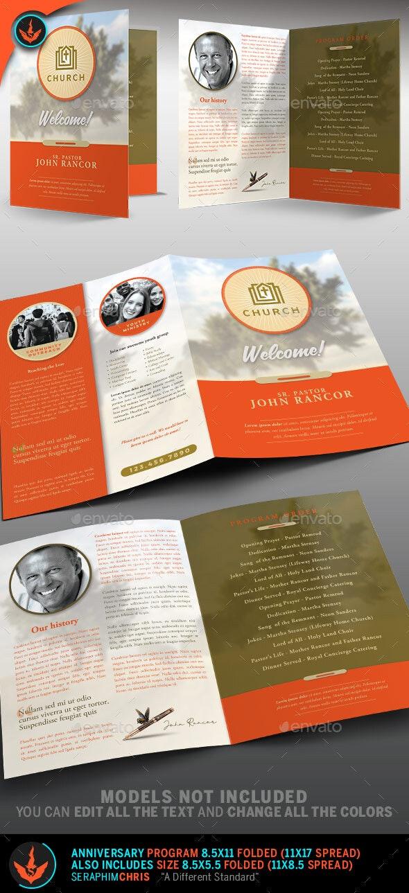 Church Program Bi-Fold Template - Informational Brochures