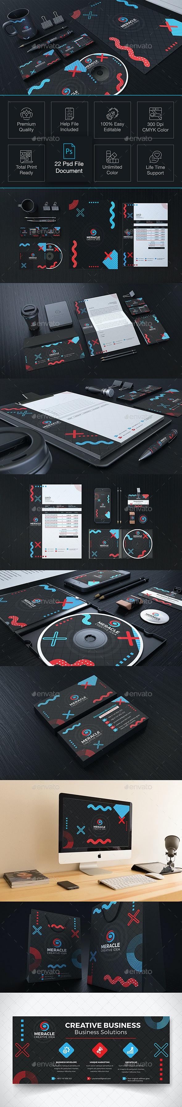Meracle Branding Identity - Stationery Print Templates