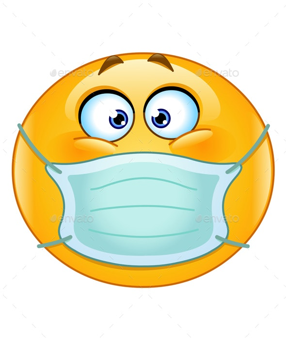 Emoticon with Medical Mask - Health/Medicine Conceptual