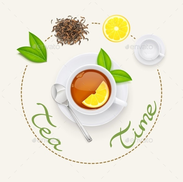 Tea Cup with Fresh Green and Dried Leaves - Food Objects