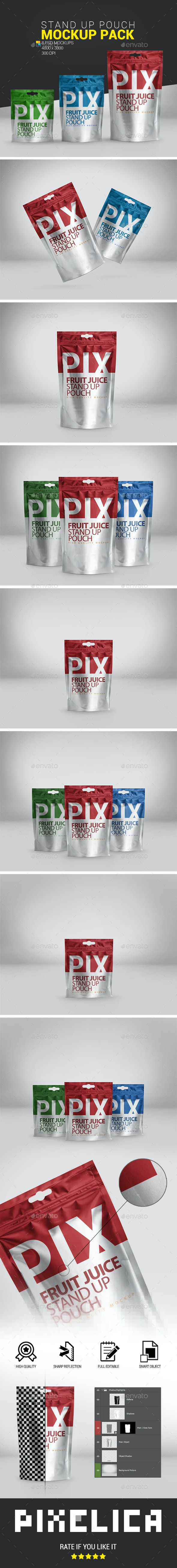 Foil Pouch Bag Mockup Pack - Food and Drink Packaging