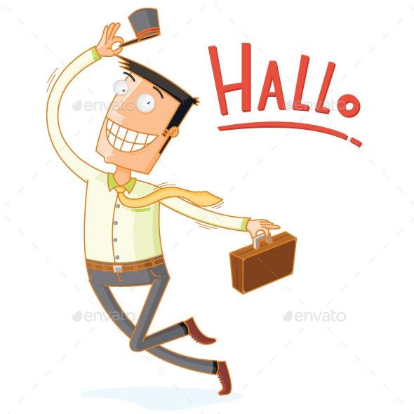 Dancing Happy Businessman - People Characters