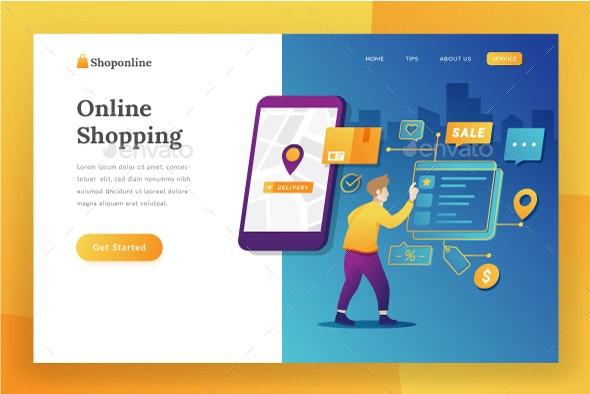 E-commerce Landing Page - Web Elements Vectors