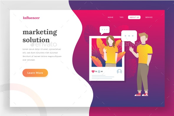 Influencer Landing Page - Web Elements Vectors