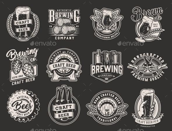 Vintage Brewery Emblems - Miscellaneous Vectors