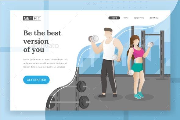 Fitness Landing Page - Web Elements Vectors