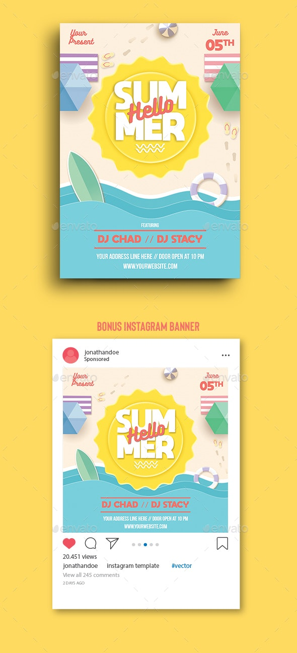 Hello Summer Party Flyer Template - Clubs & Parties Events