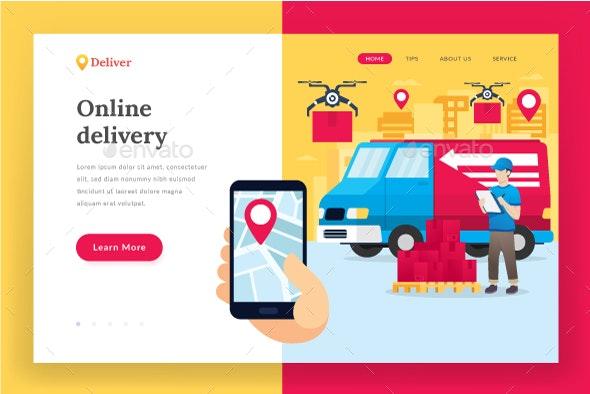 Online Delivery Service - Landing Page - Web Elements Vectors