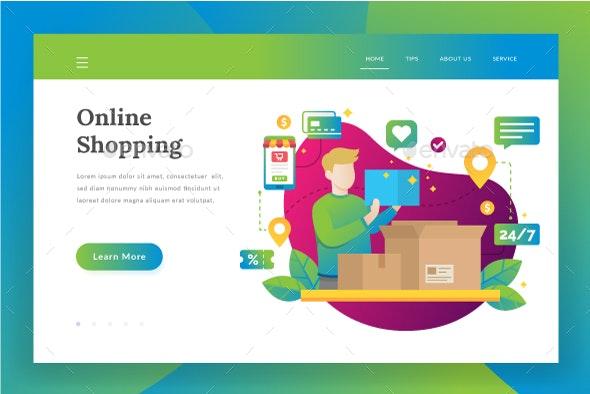 Online Shopping - Landing Page - Web Elements Vectors