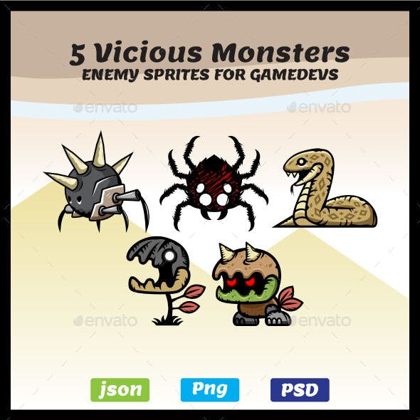 5 Vicious Monsters Game Asset Sprites