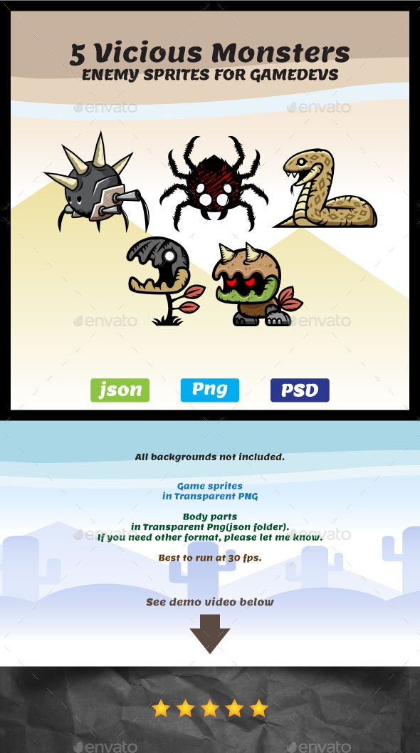 5 Vicious Monsters Game Asset Sprites - Sprites Game Assets