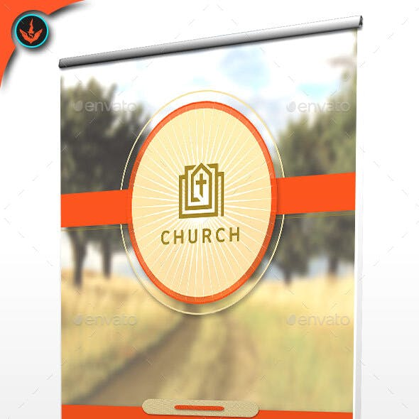 Church Roll-Up Retractable Banner Template