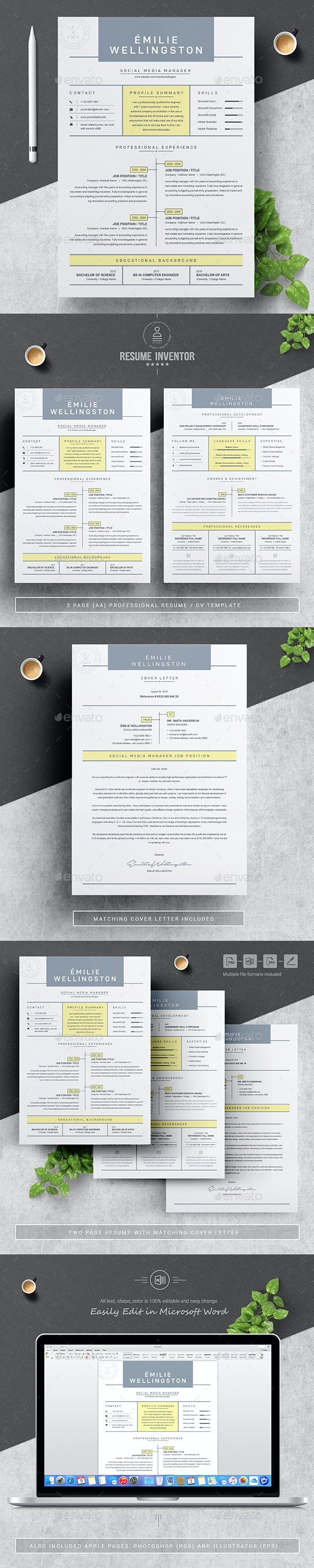 Creative Professional Resume / CV Template - Resumes Stationery