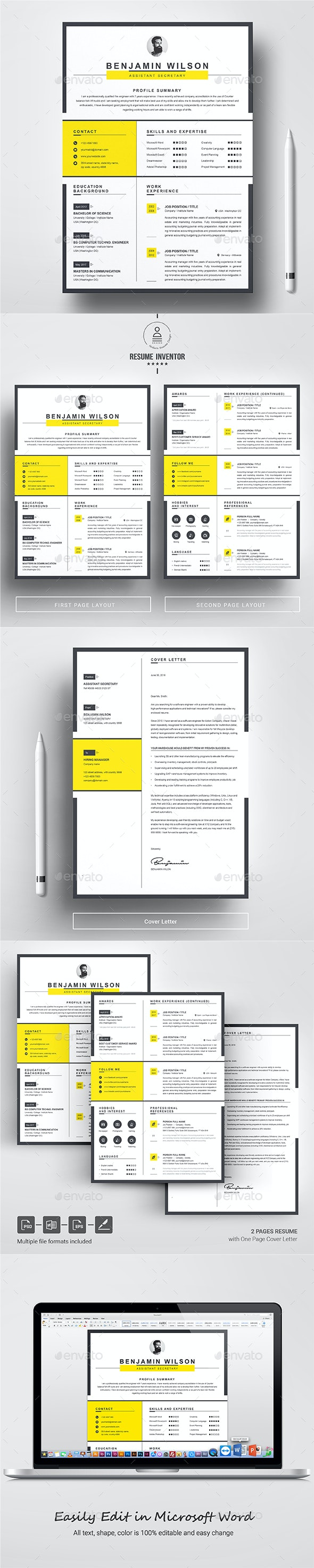 Clean & Minimal Resume Template - Resumes Stationery